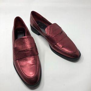 NEW Zara Metallic Leather Burgundy Loafers 40